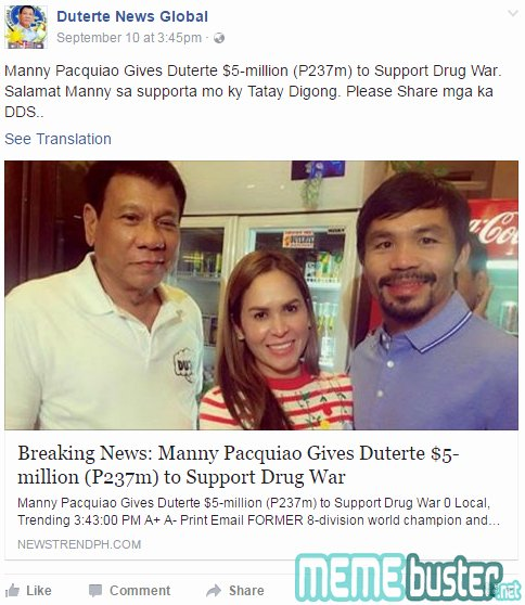Satirical Essay On Drugs Luxury Pacquaio Gave $5m to Support Duterte's War It's
