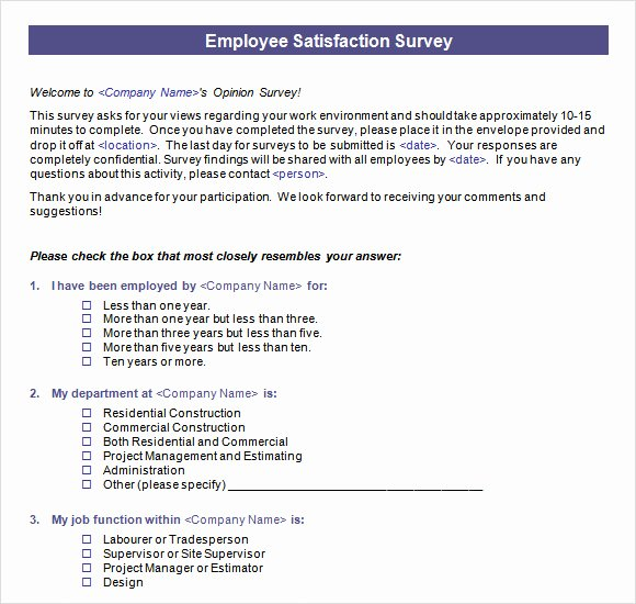 Satisfaction Survey Template Word Fresh Employee Satisfaction Survey 16 Download Free Documents