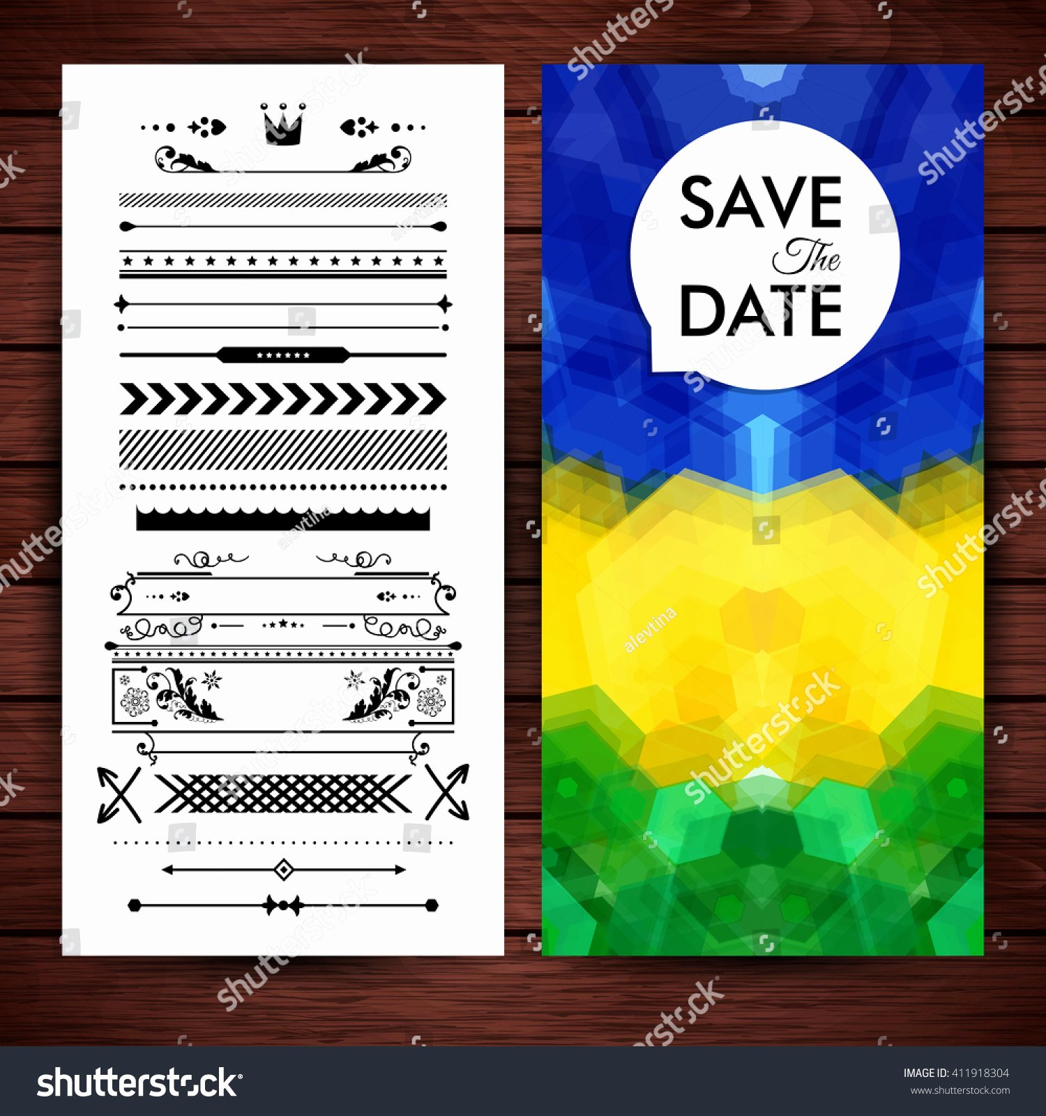 Save the Date Text Template Awesome Rectangular Blue Yellow Green Save Date Stock Vector