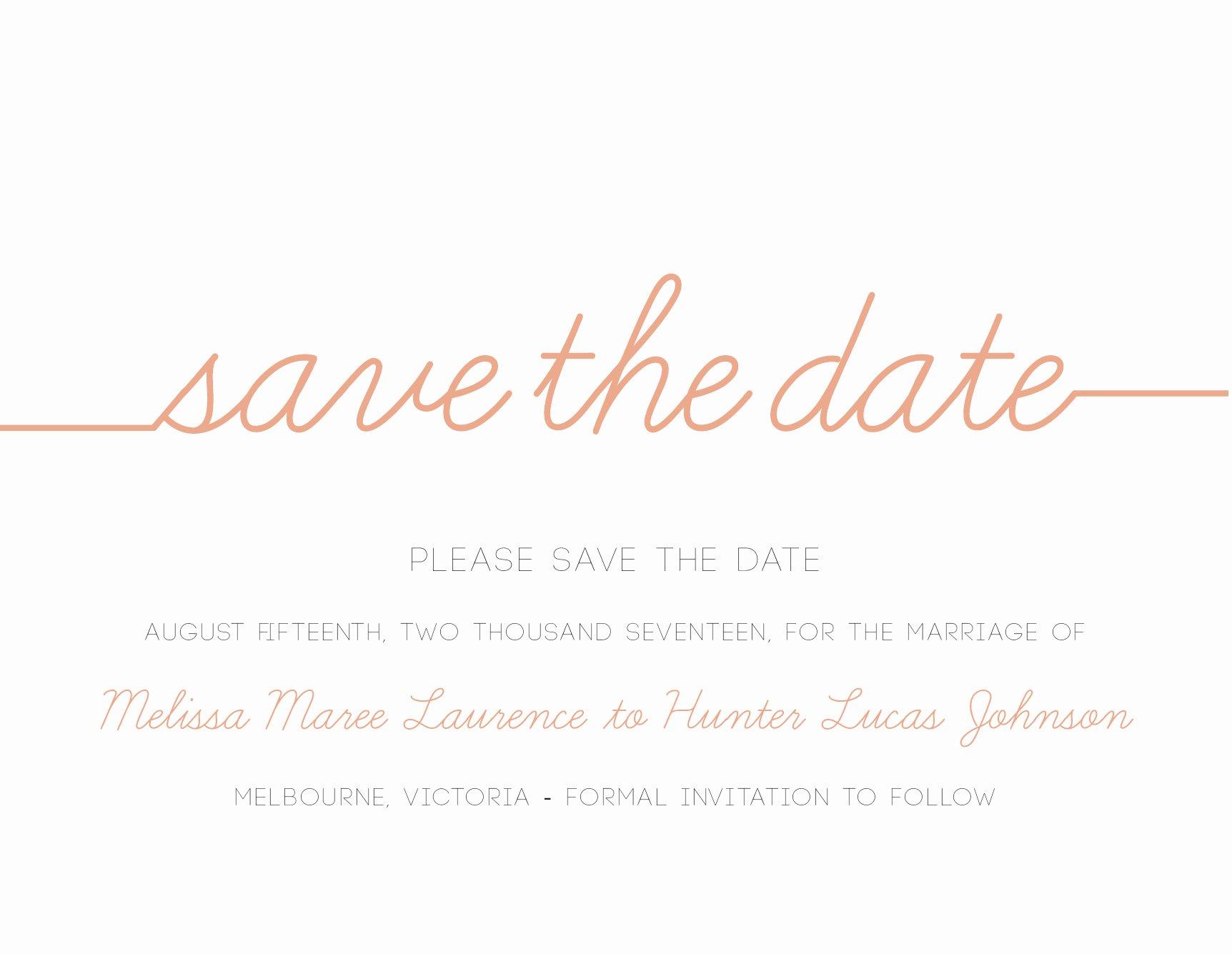 Save the Date Text Template Beautiful Cursive Digital Printing