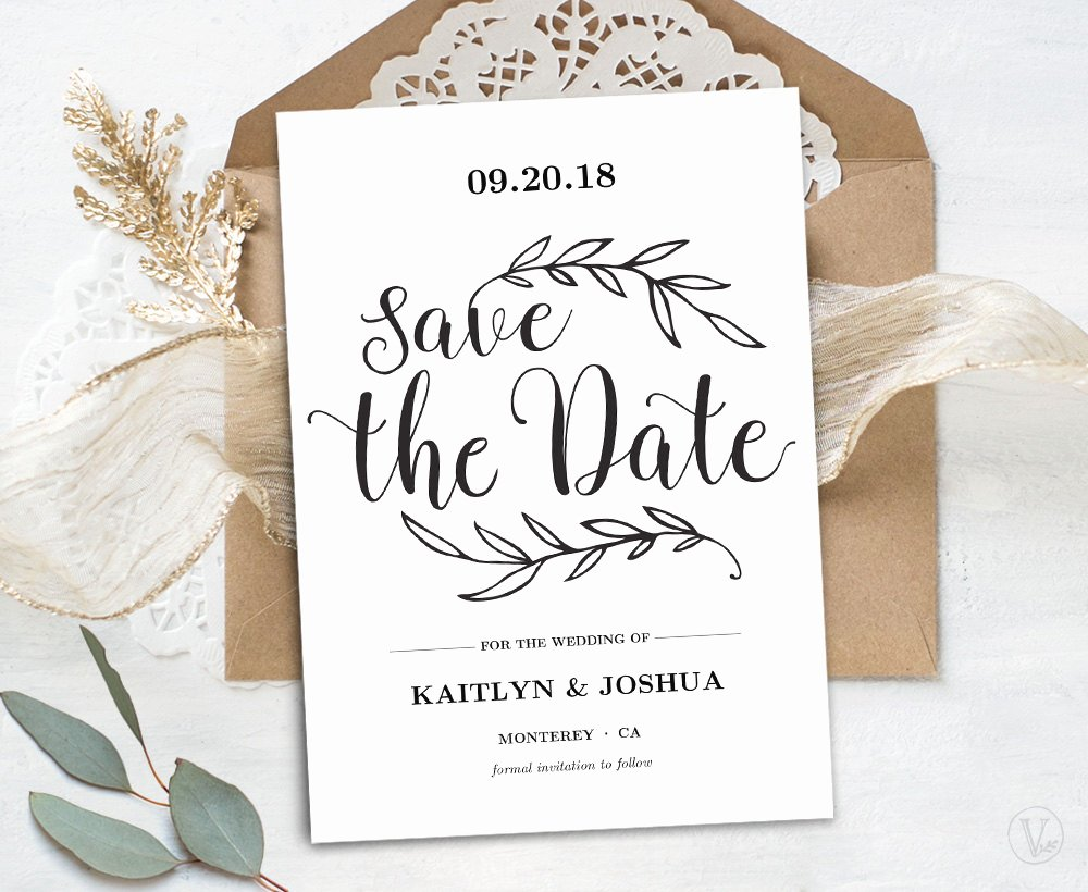 Save the Date Text Template Best Of Printable Save the Date Card Template Kraft Save the Date