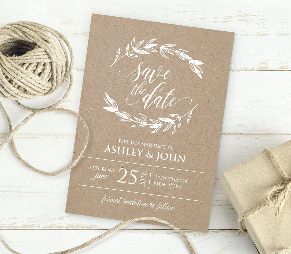 Save the Date Text Template Elegant Kraft Save the Date Template Instant Download Editable