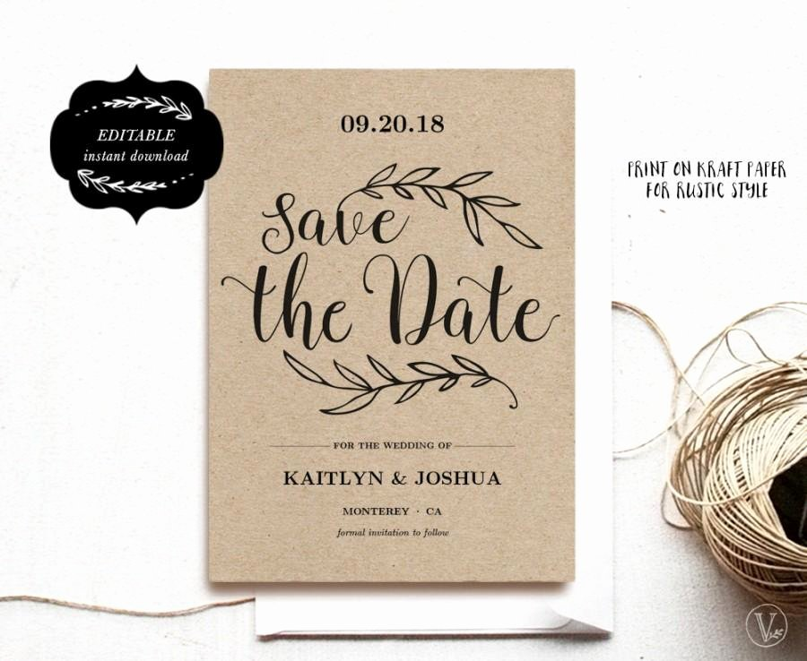 Save the Date Text Template Elegant Printable Save the Date Card Template Kraft Save the Date