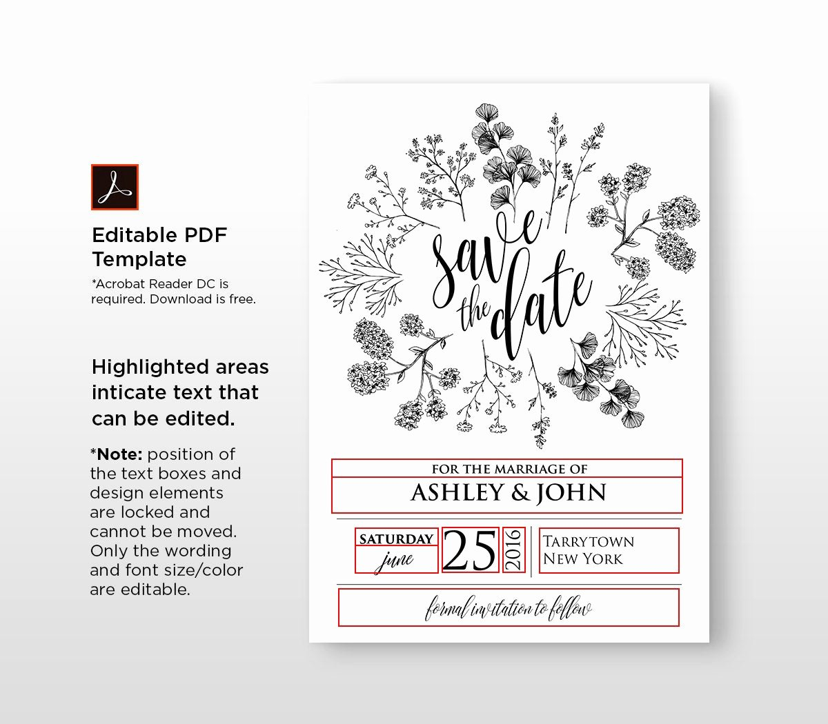 Save the Date Text Template Elegant Rustic Save the Date Template Instant Download Printable