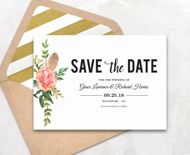 Save the Date Text Template Fresh Save the Date Template Floral Save the Date Card Boho
