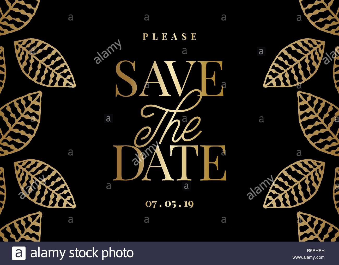 Save the Date Text Template Inspirational Save the Date Template with Hand Drawn Golden Leaf Shapes