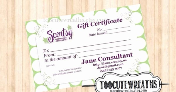 Scentsy Gift Certificate Template Beautiful Business Card Size Scentsy and Gift Certificates On Pinterest