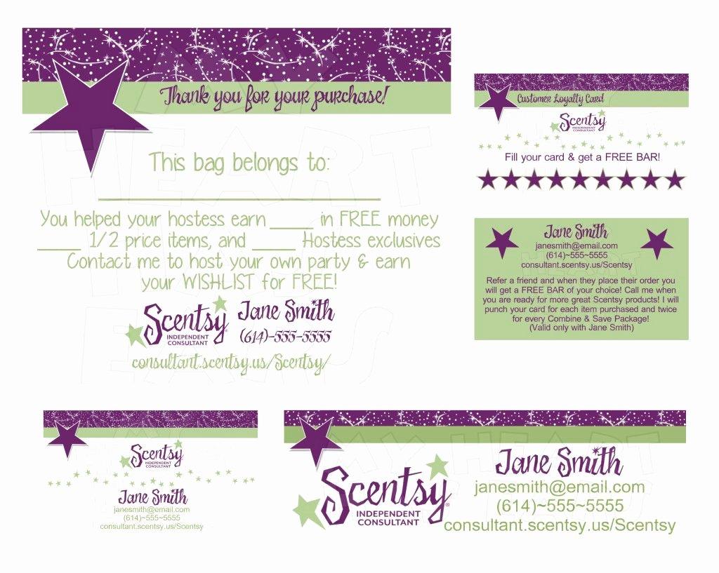 Scentsy Loyalty Cards Elegant Scentsy Business Bundle Custom Printable Digital Business