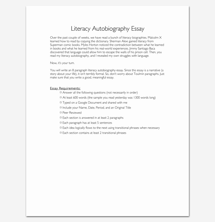 Scholarship Biography Essay Examples Awesome Autobiography Outline Template 23 Examples and formats