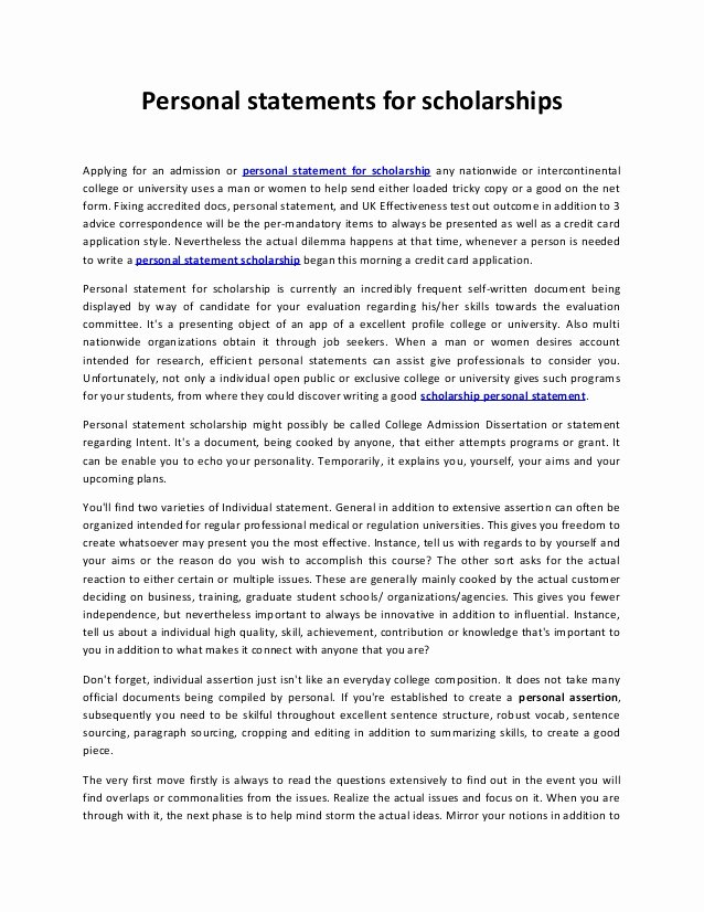 Scholarships Essays Examples About Yourself Lovely Personal Statements for Scholarships 22