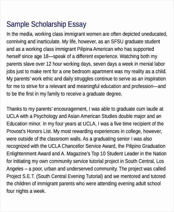 Scholarships Essays Examples About Yourself Luxury Scholarship Essay Examples
