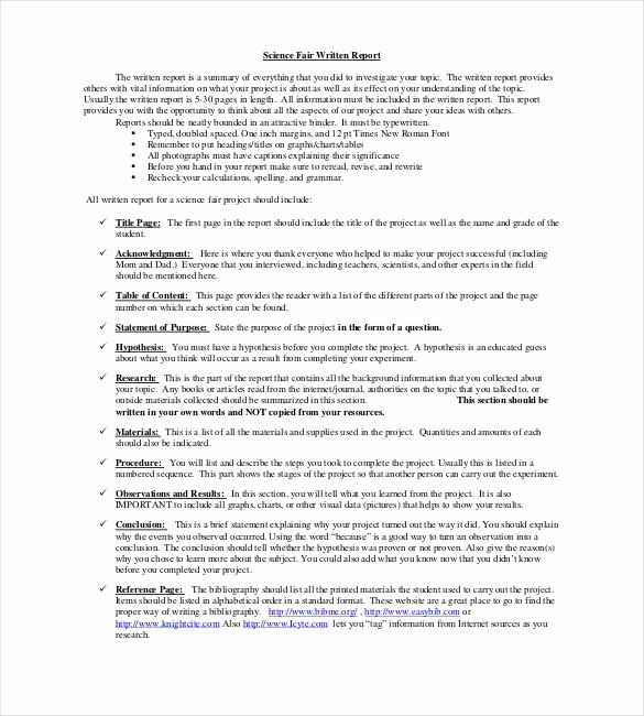 Science Fair Project Template Word Elegant 18 Project Report Templates Doc Pdf