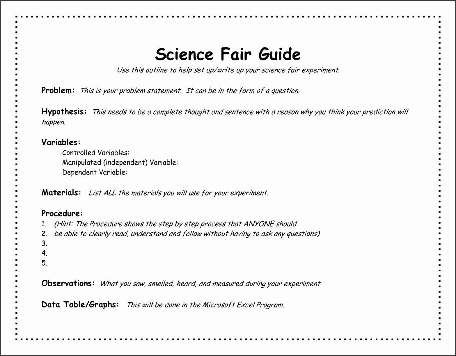 Science Fair Project Template Word Inspirational 8 Project Outline Templates Sampletemplatess