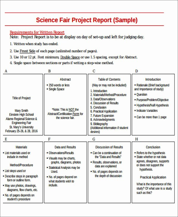 Science Fair Project Template Word Inspirational Sample Science Project Report 9 Examples In Word Pdf