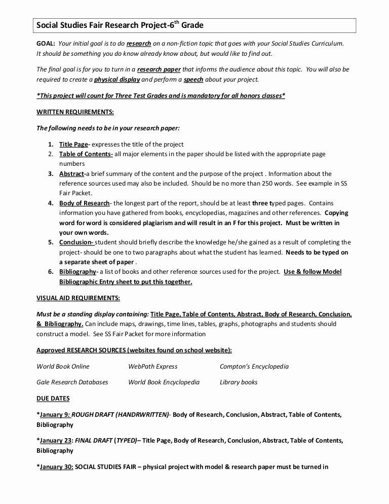 Science Fair Proposal Sheet Elegant social Stu S Fair Research Project 7th Grade