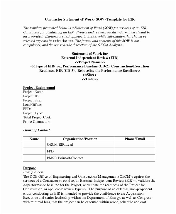 Scope Of Work Example Construction Best Of Statement Of Work Template 13 Free Pdf Word Excel