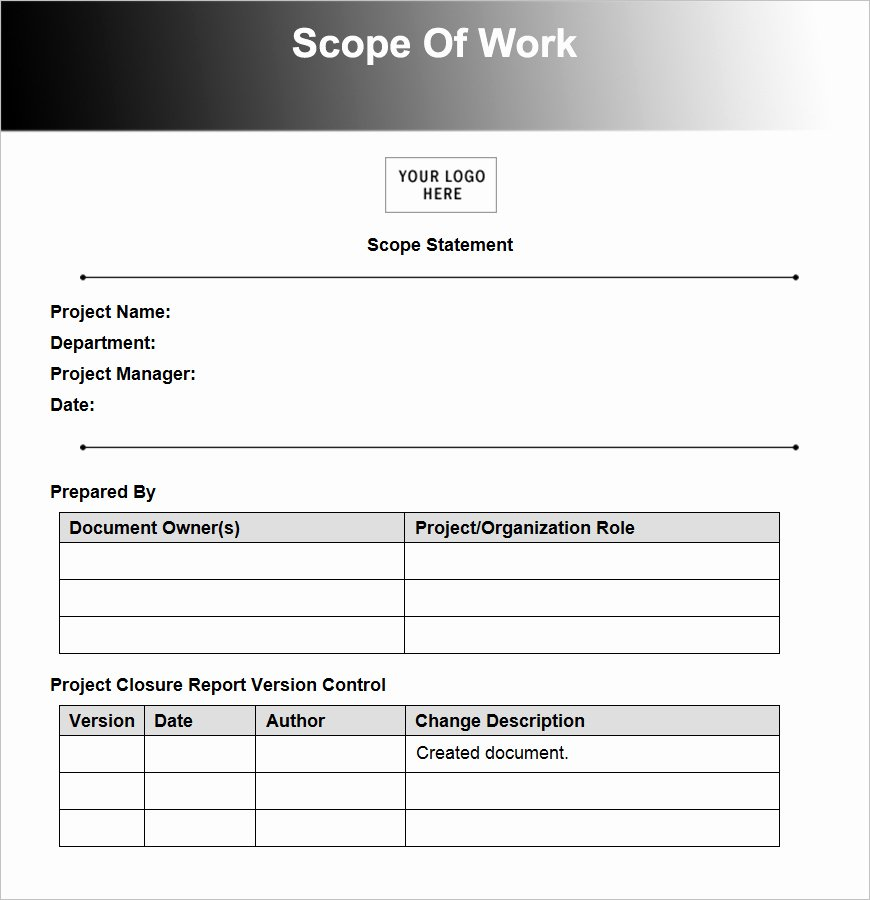 Scope Of Work Example Construction New 10 Scope Work Templates Free Word Pdf Excel Doc formats
