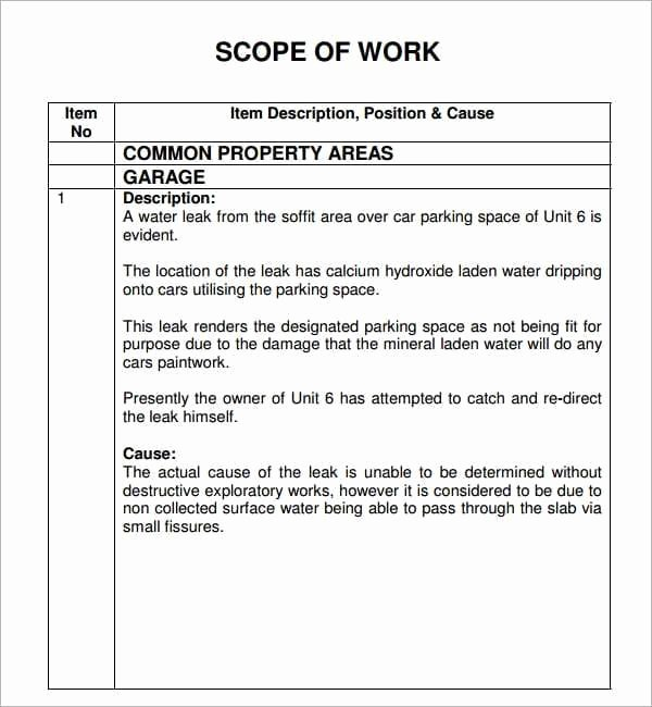 Scope Of Work Example Construction New 7 Construction Scope Of Work Templates Word Excel Pdf
