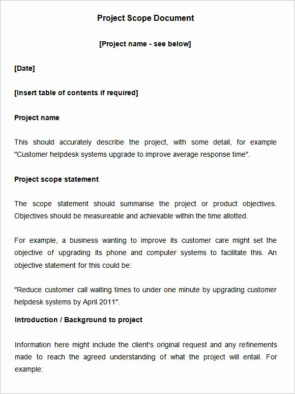 Scope Of Work Example Construction New Scope Of Work Template 36 Free Word Pdf Documents