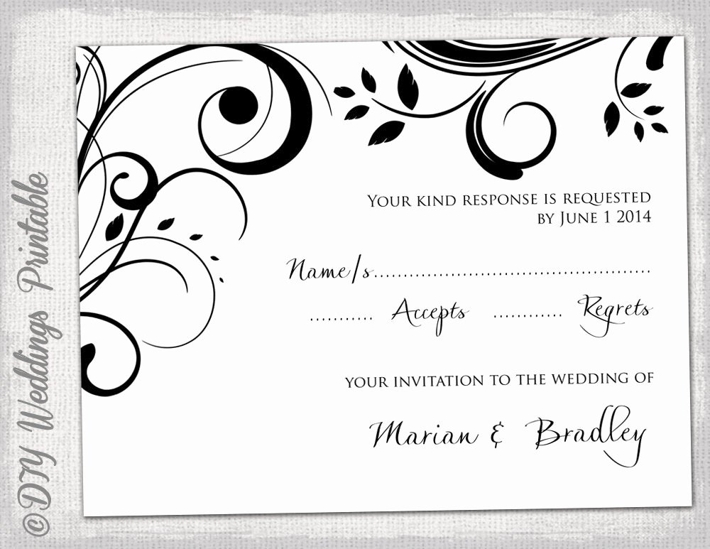 Scroll Template Word Fresh Rsvp Template Diy Black and White Scroll