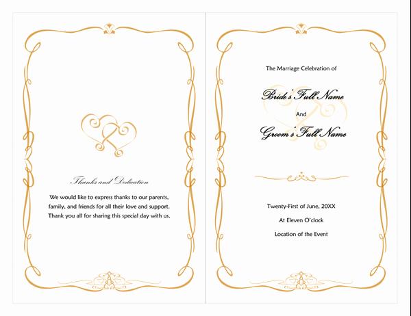 Scroll Template Word Fresh Wedding Program Heart Scroll Design