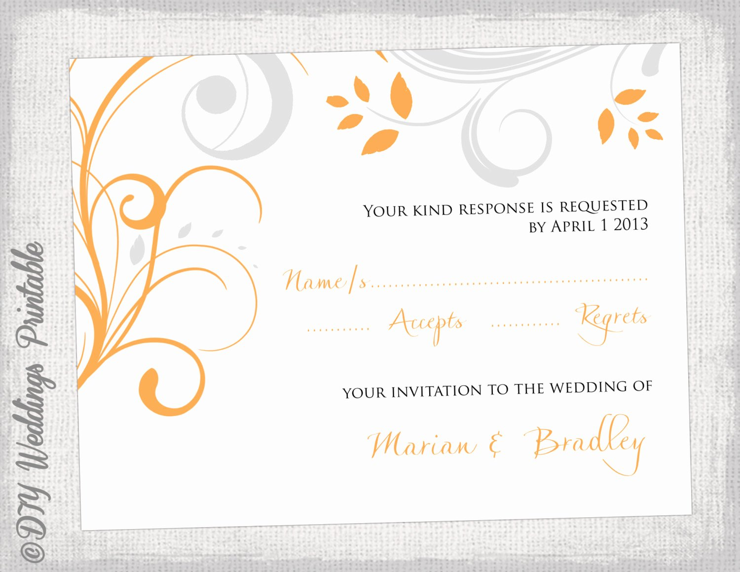 Scroll Template Word Inspirational Rsvp Template Diy orange & Silver Gray Scroll
