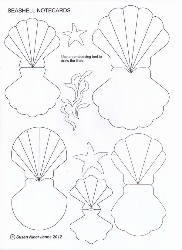 Seashell Template Printable Beautiful Fold Over Seashells Fun as Cards or T Tags these
