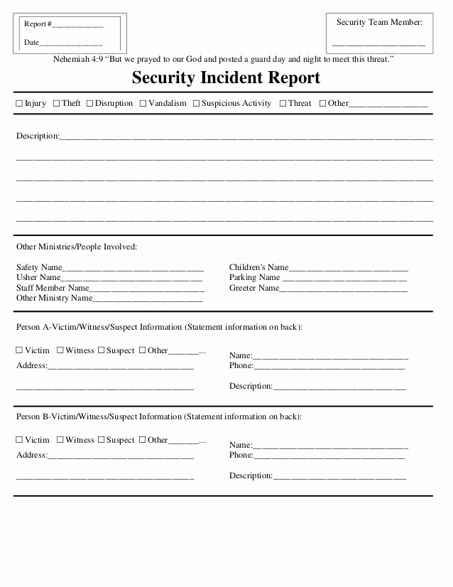 Security Guard Daily Activity Report Template Elegant Security Incident Report