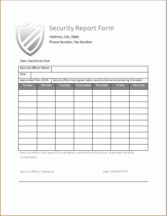 Security Guard Daily Activity Report Template Lovely Security Guard Daily Activity Report
