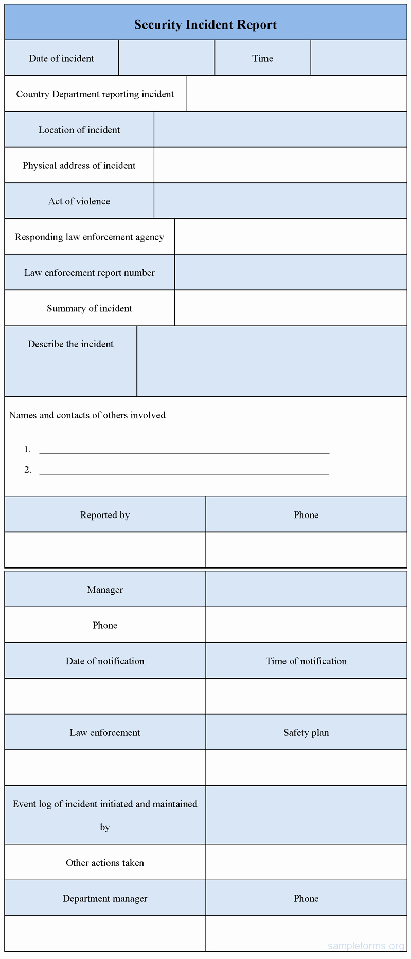 Security Incident Report Template Word Luxury Security Incident Report form Sample forms