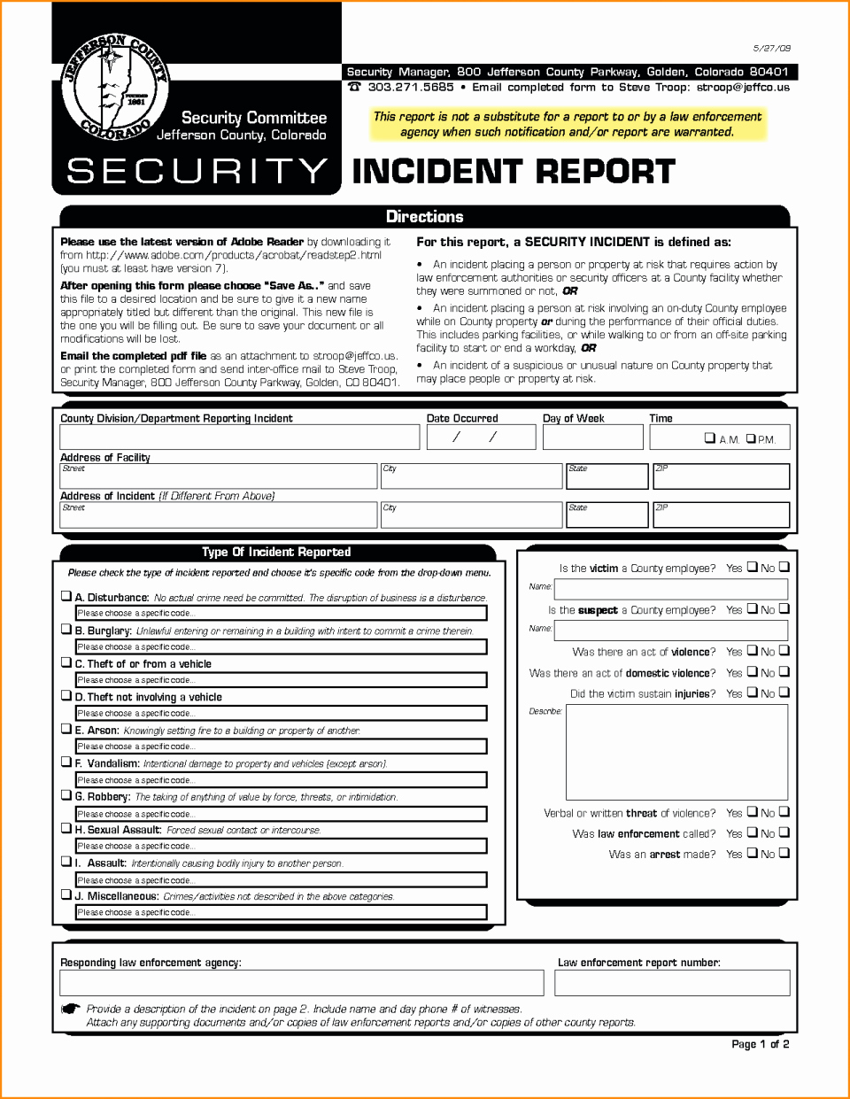 Security Incident Report Template Word Unique Example Security Incidentort Injury form Template