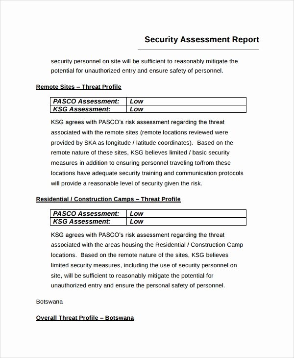 Security Report Example Elegant 9 Sample Risk assessment Report Templates Google Docs