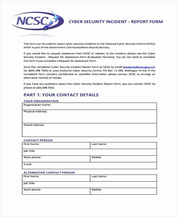 Security Report Example Elegant Sample Incident Report form