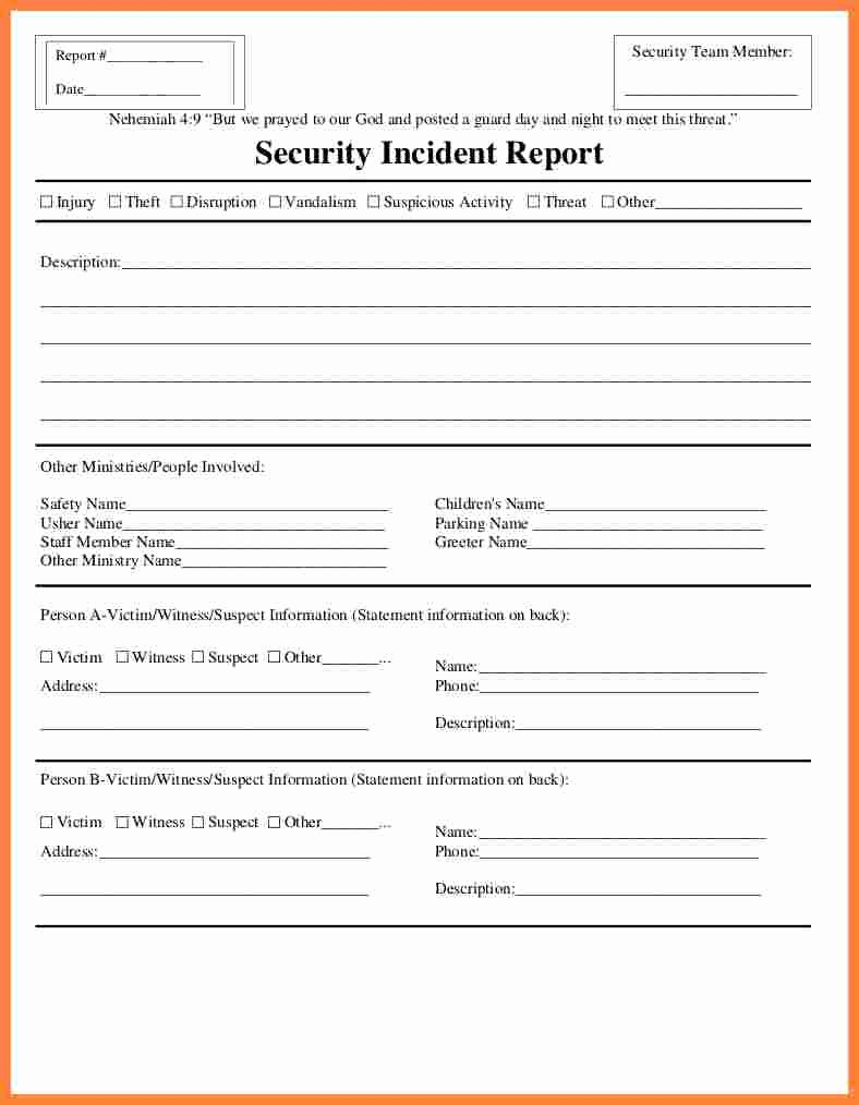 Security Report Example Fresh 11 Security Incident Report form Template