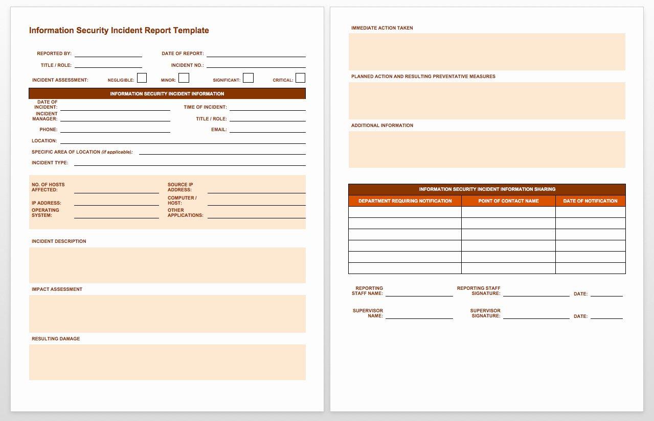 Security Report Sample Inspirational Free Incident Report Templates Smartsheet