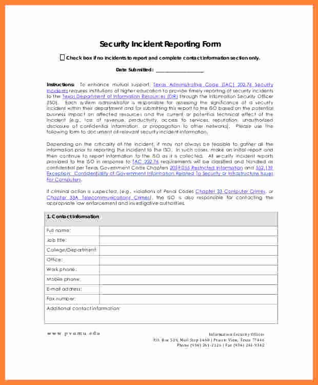 Security Report Sample Luxury 11 Information Security Incident Report Template