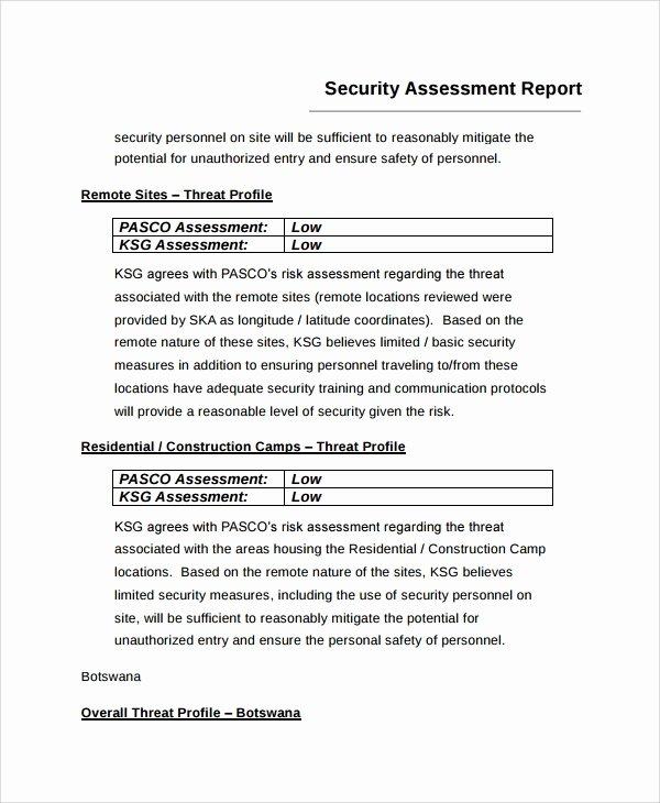 Security Report Sample Unique 9 Sample Risk assessment Report Templates Google Docs