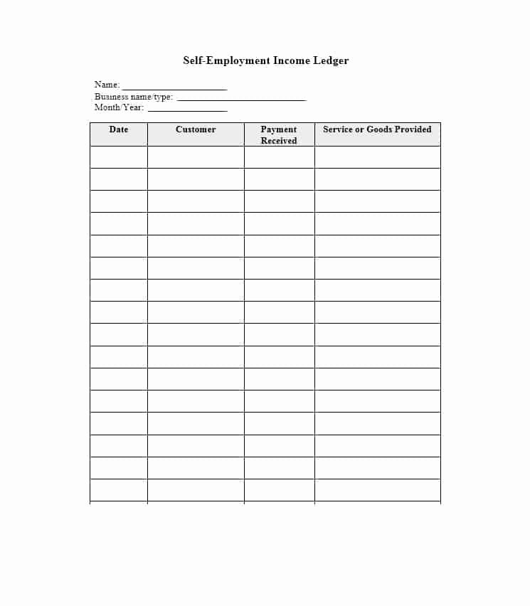Self Employment Ledger forms New Self Employment Ledger 40 Free Templates & Examples