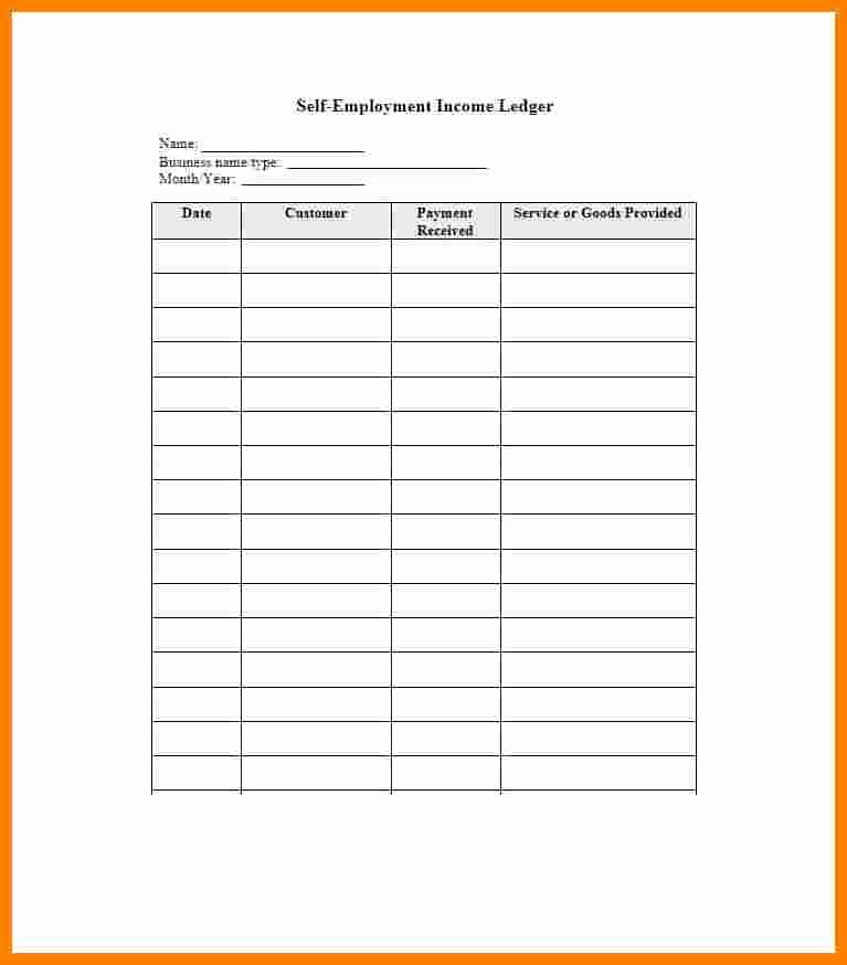Self Employment Ledger forms Unique 9 Self Employed Ledger Template