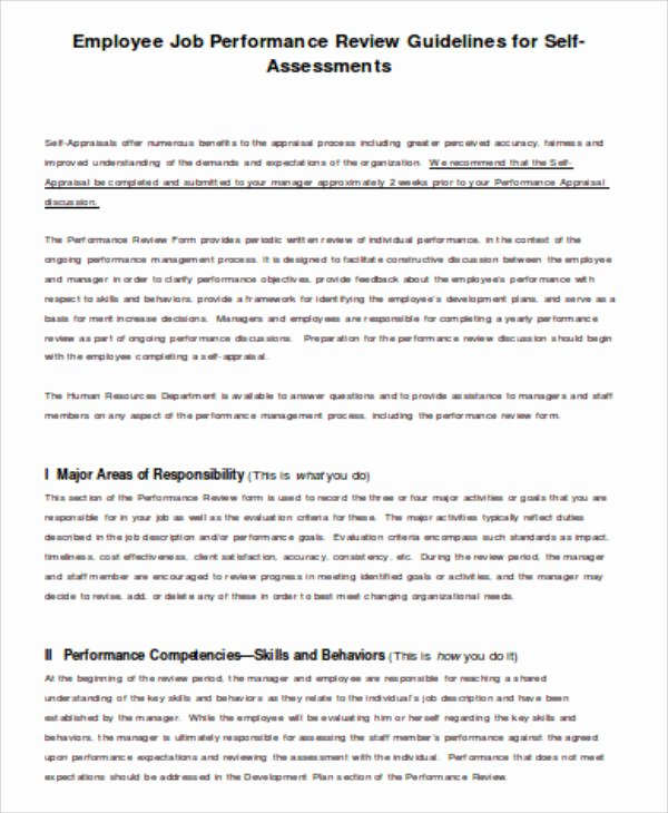 Self Performance Review Template Awesome 5 Job Self assessment Sample Examples In Word Pdf
