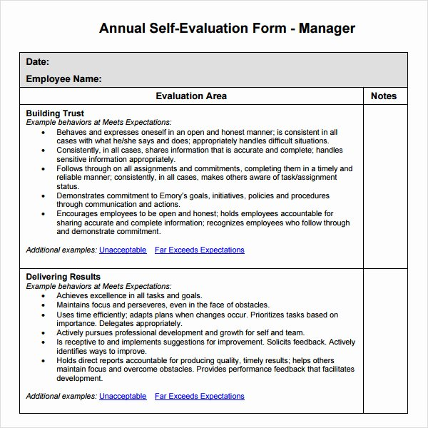 Self Performance Review Template Fresh Manager Evaluation 6 Free Download for Pdf