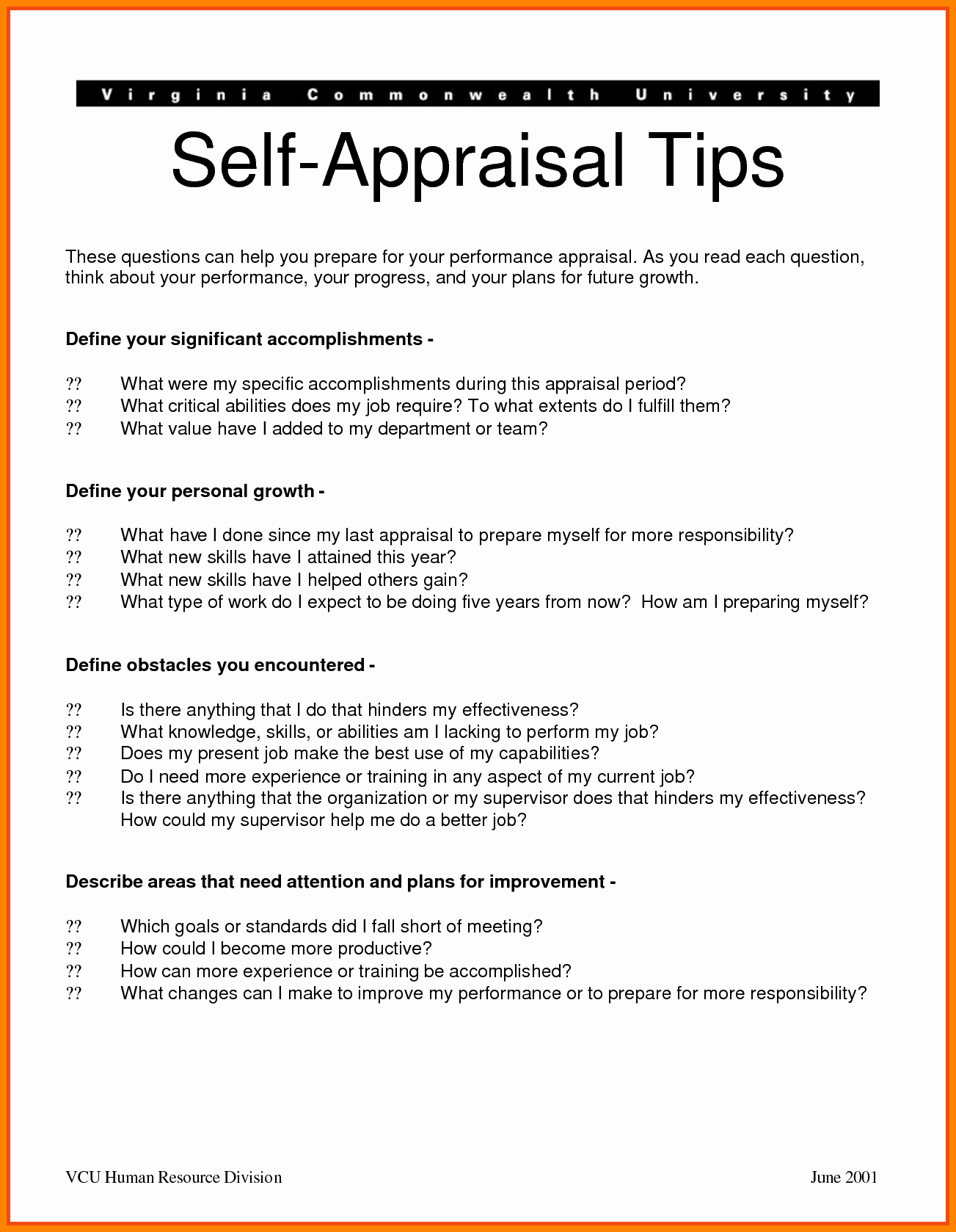 Self Performance Review Template Inspirational Self Performance Appraisal Examples