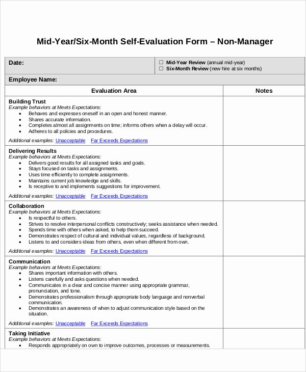 Self Performance Review Template New 7 Employee Self assessment Samples Examples In Word Pdf