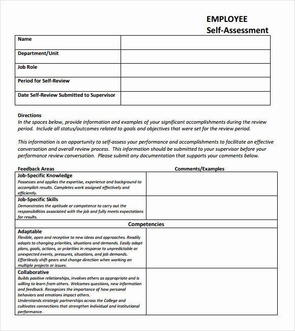 Self Performance Review Template Unique Self assessment 9 Download Free Documents In Pdf Excel
