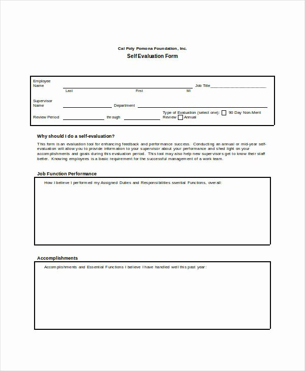 Self Performance Review Template Unique Self Evaluation 13 Free Sample Example format