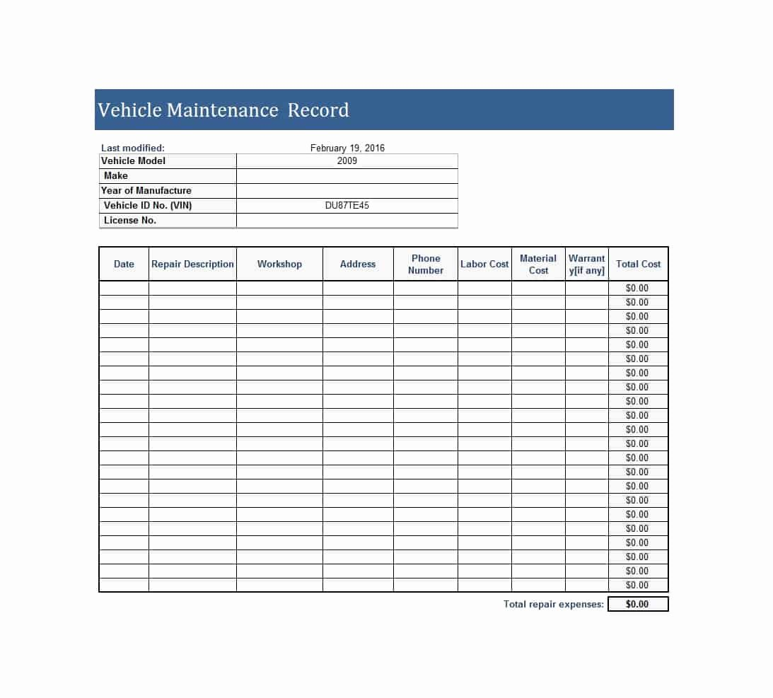 Semi Truck Maintenance Schedule Awesome 40 Printable Vehicle Maintenance Log Templates Template Lab
