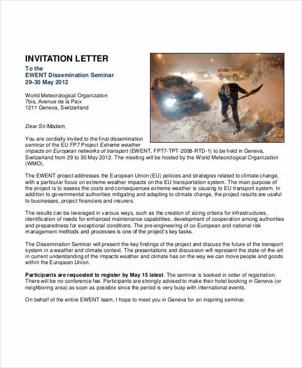 Seminar Invitation Template Inspirational 37 Sample Business Letters In Pdf