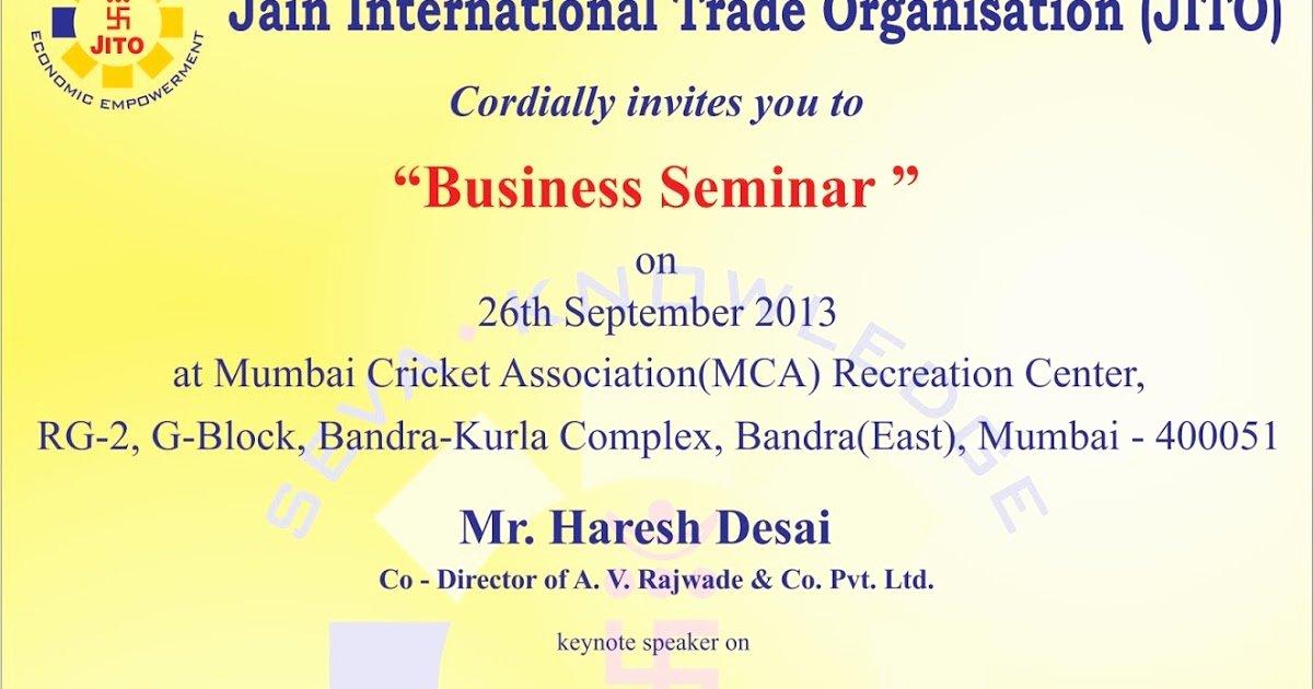 Seminar Invitation Template Inspirational Jito Business Seminar Business Seminar Invitation Card