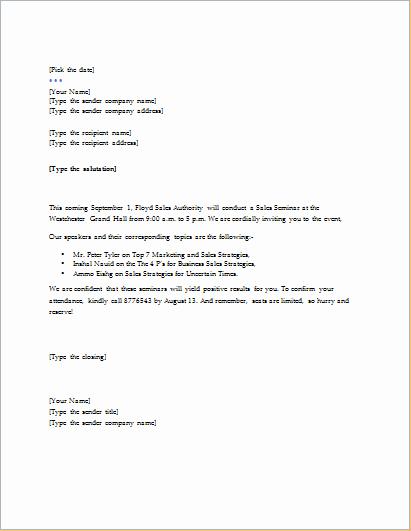 Seminar Invitation Template Lovely Invitation Letter Templates for Word