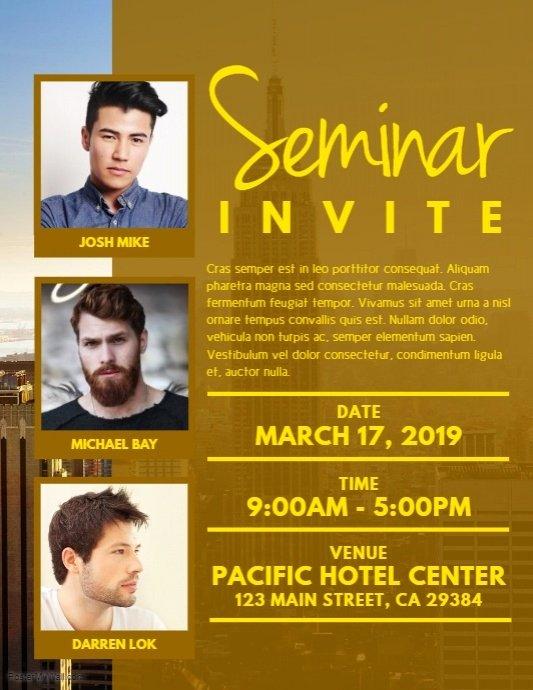 Seminar Invitation Template Luxury Seminar Invite Flyer Template